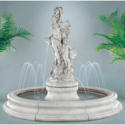 Henri Studio Pooled Cast Stone Venus with Dolphins in Toscana Pool Fountain