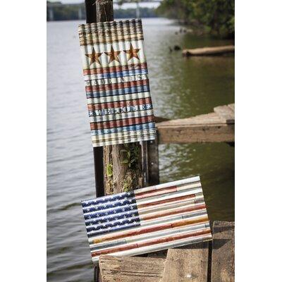 2 Piece USA Metal Corrugated Outdoor Garden Sign Set
