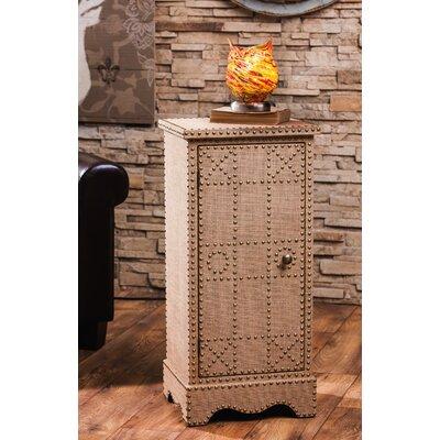 Burlap Covered Wooden 1 Door Cabinet with Stud Detail