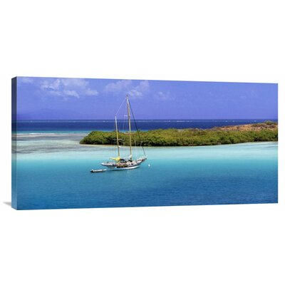 Global Gallery 'Sailboat at Anchor, Island of Culebra, Puerto Rico' by George H.H. Huey Photographic Print on Wrapped Canvas