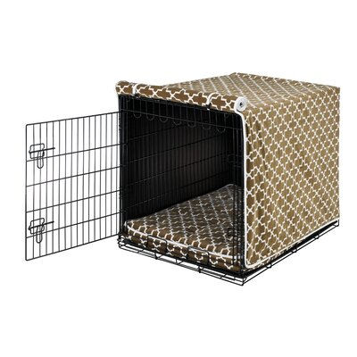 "Luxury Dog Crate Cover II Size: Small (19"" H x 18"" W x 24"" D), Color: Cedar Lattice (White)"