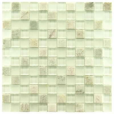 """Sierra 0.88"""" x 0.88"""" Glass and Natural Stone Mosaic Tile in Ming"""