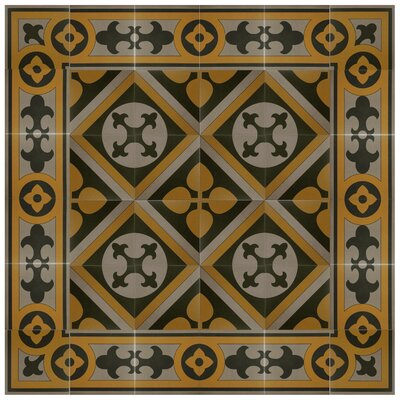 "Cementa 7"" x 7"" Ceramic Glazed Decorative Murals Tile in Golden Yellow/Gray/Black"