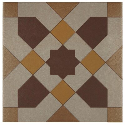 "Cementa 7"" x 7"" Ceramic Tile in Burgundy/Gold/Tan"