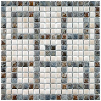 "Samoan Greek Key 0.56"" x 0.56"" Porcelain Mosaic Tile in Gray/White"