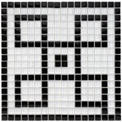 "Sierra Greek Key 0.57"" x 0.57"" Porcelain Mosaic Tile in Black/White"