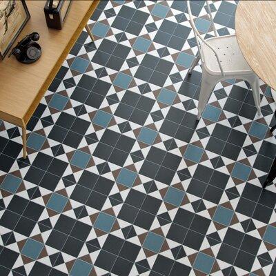 """Narcisso Nouveau 13"""" x 13"""" Porcelain Tile in Black/Blue/Beige"""