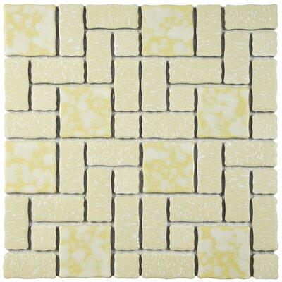 """Pallas 11.75"""" W x 11.75"""" L Porcelain Tile in Gold/White"""