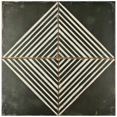"""Royalty 17.63"""" x 17.63"""" Ceramic Field Tile in Matte Black/White"""