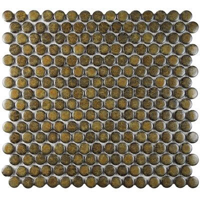 """Penny 0.8"""" x 0.8"""" Porcelain Mosaic Tile in Brownstone"""