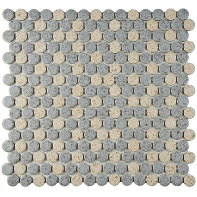 """Penny 0.8"""" x 0.8"""" Porcelain Mosaic Tile in Gray/Cream"""