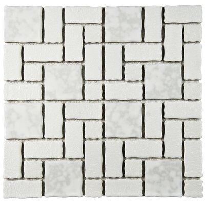 "Pallas Random Sized 11.75"" x 11.75"" Porcelain Mosaic Tile in White"