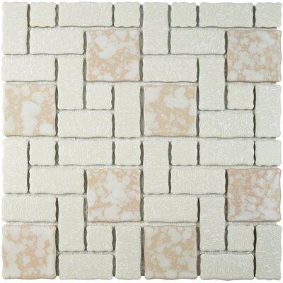 Pallas Random Sized Porcelain Mosaic Tile in Bone