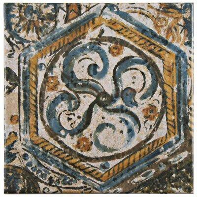 """Romana 7.75"""" x 7.75"""" Ceramic Field Tile in Blue/Orange"""