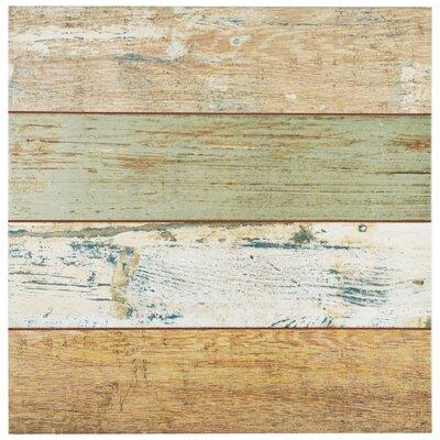 """Royalty 17.63"""" x 17.63"""" Ceramic Wood Look Tile in Brown/Beige"""