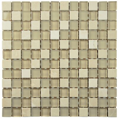 """Sierra 0.88"""" x 0.88"""" Glass and Natural Stone Mosaic Tile in Sandstone"""