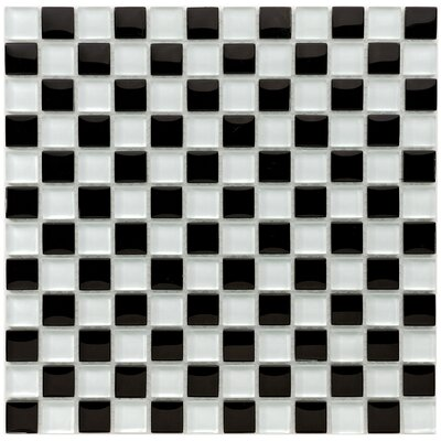 """Sierra 0.88"""" x 0.88"""" Glass and Natural Stone Mosaic Tile in Black/White"""