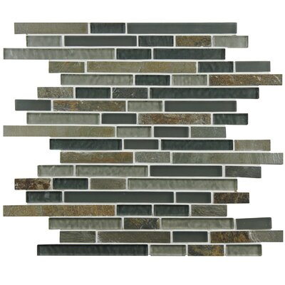 Sierra Random Sized Glass and Natural Stone Mosaic Tile in Green/Brown