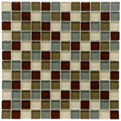 """Sierra 0.88"""" x 0.88"""" Glass and Natural Stone Mosaic Tile in Blue/Brown"""