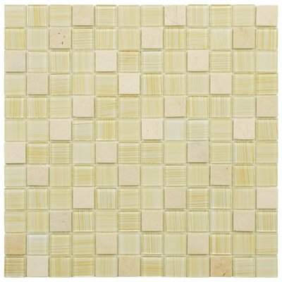 """Chroma 0.88"""" x 0.88"""" Glass and Natural Stone Mosaic Tile in Macadamia"""