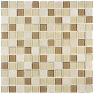 """Chroma 0.89"""" x 0.89"""" Glass and Natural Stone Mosaic Tile in Brown/Cream"""