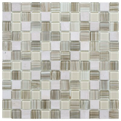 """Chroma 0.89"""" x 0.89"""" Glass and Natural Stone Mosaic Tile in Pistachio"""