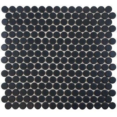 "Penny 0.8"" x 0.8"" Porcelain Mosaic Tile in Matte Black"