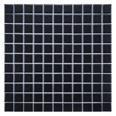 """Retro 11.75"""" x 11.75"""" Porcelain Mosaic Tile in Matte Black"""