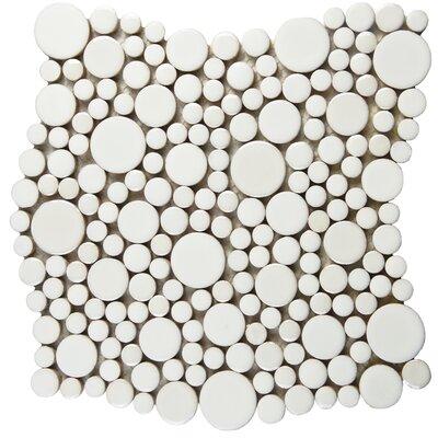 Posh Bubble Random Sized Porcelain Pebble Tile in White