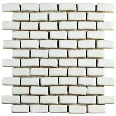 "Greenwich 0.86"" x 1.84"" Ceramic Mosaic Tile in White"