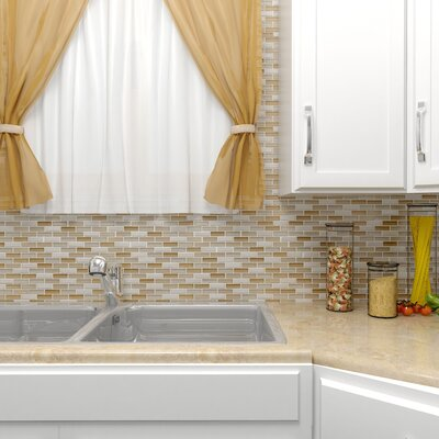 """Sierra 0.58"""" x 1.88"""" Glass and Natural Stone Mosaic Tile in Latte"""