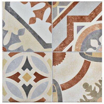 "Hydraulic 13"" x 13"" Ceramic Field Tile in Beige/Terracotta"