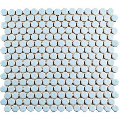 "Penny 0.8"" x 0.8"" Porcelain Mosaic Tile in Cashmere Blue"