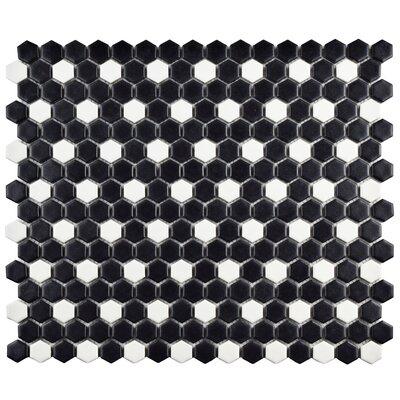 """Retro 0.75"""" W x 0.75"""" L Porcelain Mosaic Tile in Matte Black/White"""