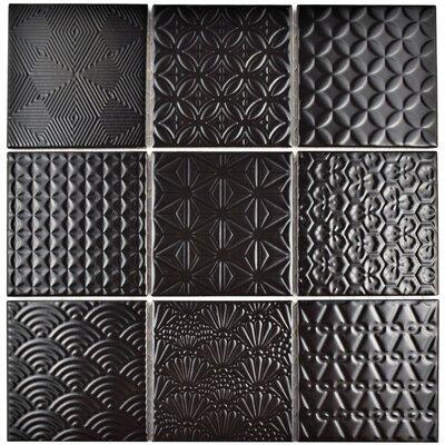 "Vigor 3.88"" x 3.88"" Porcelain Mosaic Tile in Black"