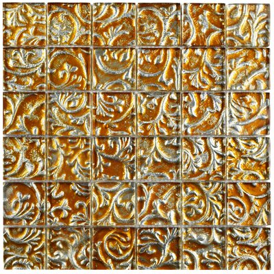 "Florencia 1.88"" x 1.88"" Glass Mosaic Tile in Burnt Orange/Gold Ivy"