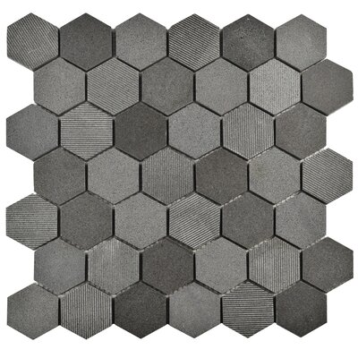 """Formation 1.88"""" x 1.88"""" Hex Volcanic Stone Mosaic Tile in Black"""