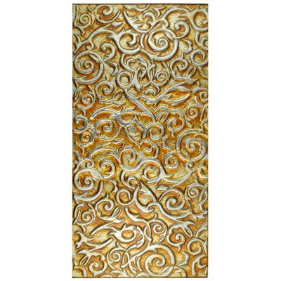 """Florencia 11.75"""" x 23.75"""" Glass Field Tile in Burnt Orange/Gold Ivy"""