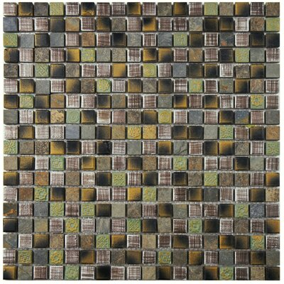 "Isle 0.63"" x 0.63"" Porcelain Mosaic Tile in Brown/Green"