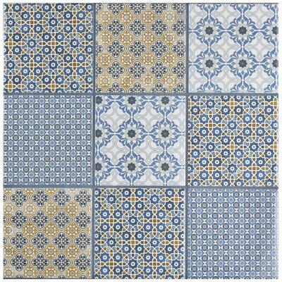"Hedwig 3.88"" x 3.88"" Porcelain Mosaic Tile in Blue/Gold"