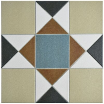 "Narcisso 13"" x 13"" Porcelain Field Tile in Blue/Beige"