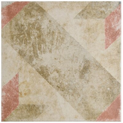 "Herculanea 9.75"" x 9.75"" Star Porcelain Field Tile in Red/Brown"