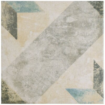 "Herculanea 9.75"" x 9.75"" Porcelain Field Tile in Blue/Beige"