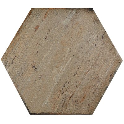 "Rama Hexagon 14.13"" x 16.25"" Porcelain Mosaic Tile in Brown"