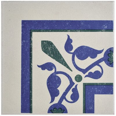 "Cementa 7"" x 7"" Porcelain Field Tile in Blue/Green"