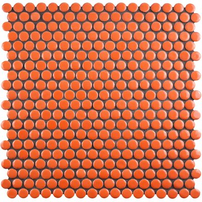 "Celestia Penny Round 0.6"" x 0.6"" Porcelain Mosaic Tile in Orange"