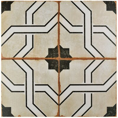 "Iberia 17.63"" x 17.63"" Ceramic Field Tile in Beige/Black"