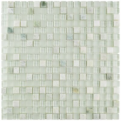 """Sierra 0.58"""" x 0.58"""" Glass and Natural Stone Mosaic Tile in Ming"""
