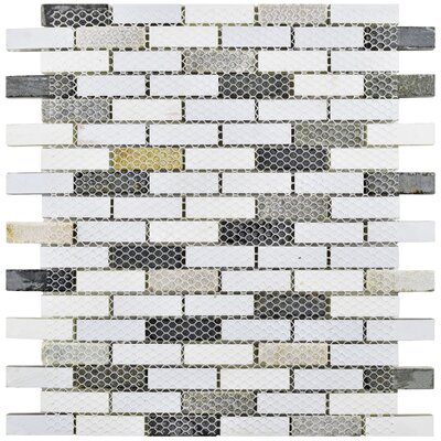 """Sierra 0.58"""" x 1.88"""" Glass and Natural Stone Mosaic Tile in Brown/Cream"""