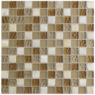 """Sierra 0.88"""" x 0.88"""" Glass and Natural Stone Mosaic Tile in Amber"""